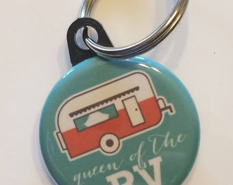 Camper camping queen of the rv keychain 1.25 inch