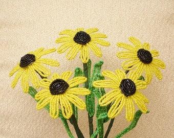 Handmade Yellow Black Eyed Susan's .. Beaded Flowers