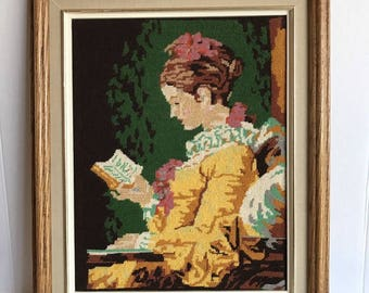 "Vintage Shabby Girl Lady Reading Needlepoint Cross Stitch Framed 18.5"" x 15"""