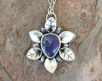 East Java Purple Chalcedony and Fine Silver Necklace. Handmade Jewelry for Charity. NC130