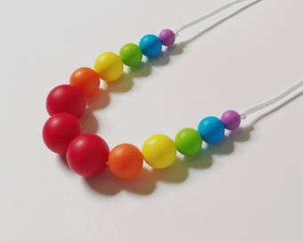 Rainbow Teething Necklace - Chewlery - Chewable Necklace - BPA Free - Non-toxic Teether - Baby Teether