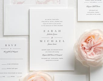 Zarah Letterpress Wedding Invitations - Deposit