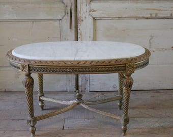 Antique Gilt Wood And Marble Coffee Table