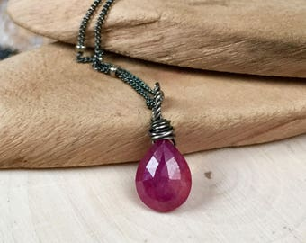 Delicate Ruby necklace - tiny faceted Ruby briolette - minimalist Sterling necklace