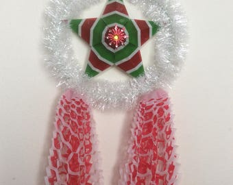 One Handcrafted  Large Filipino Paper Christmas Parol 11 inches by 22 inches with LED tea light.