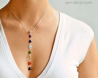 Chakra Pendant, Yoga Jewelry, 7 Chakra Necklace, Meditation Beads, in Gemstones & Sterling Silver or 14k Gold Filled