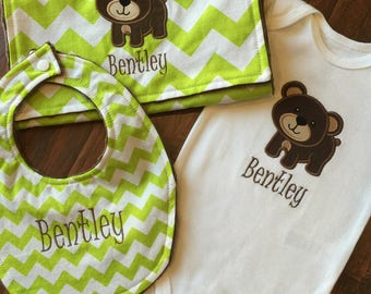 Bear Baby Set-  Bib and Burp Cloth Set- Personalized Gift Set- Baby Shower Set- Bear Bodysuit Set