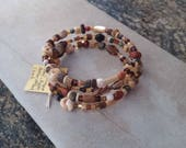 Memory Wire Bracelet, Neutral Colors, Four time Wrap, Jasper, Wood, Bone, Mother of Pearl, Shell, Organic, Boho, Gypsy, Casual Everyday