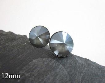 Swarovski Post Earrings --Grey Studs -- Grey Stud Earrings -- Classic Stud Earrings -- Grey Post Earrings -- Round Grey Earrings -- Posts