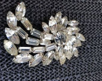 vintage Crystal rhinestones brooch unsigned Wedding Jewelry
