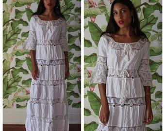 1960s White Cotton Dress / Cream Lace Dress Vintage Dress / Embroidered Hippie Dress / White Caftan / Beach Wear / Haute Hippie Dress