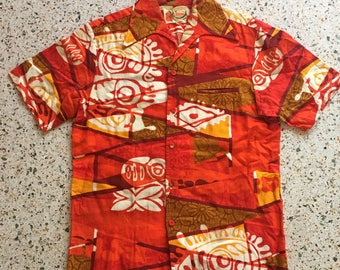 1950's Hawaiian Shirt / Tiki Wear / Novelty Printed Hawaii Shirt / Button Up Barkcloth shirt / Cotton Shirt / Orange hawaii Tour Souvenir