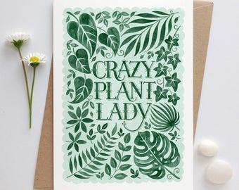 Crazy Plant Lady Card | House Plant Card | Tropical Leaf Card | Botanical Leaf Card | Gardeners Card | Plant Lovers Card | Gardening Card