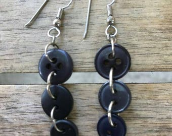 Black Silver Button Earrings One of A Kind
