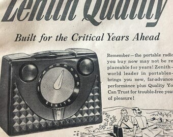 1951 Zenith quality 3 way portable radio 401 model ad 5 1/2 x 7 1/2.