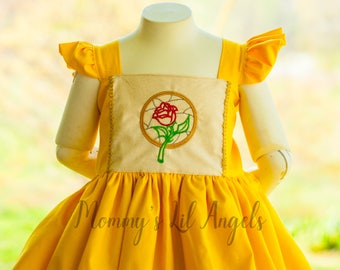 Princess Bell Inspired Embroidered Spring and Summer girls dress, size 6m, 12m, 2t, 3t, 4t, 5t, 6, 8, 10, 12