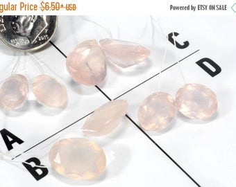 ON SALE Rose Quartz Matched Pairs Fancy Cut Earring Pairs Teardrops Oval Round Pan Cut Concave Top Drilled Mined Stone - Choose One Pair