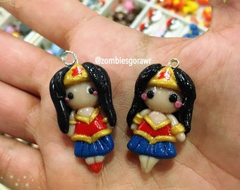 Kawaii Wonder Woman Inspire Amazon Woman Polymer Clay Charm