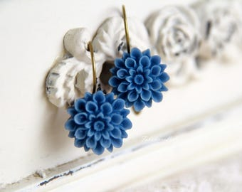 Blue Dahlia/ Resin Flower/ Earrings/ Bridesmaid