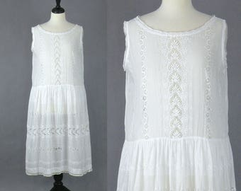 1920s Embroidered White Cotton Eyelet Dress, 20s Summer Dress, 1920s Sundress Lingerie Slip Dress