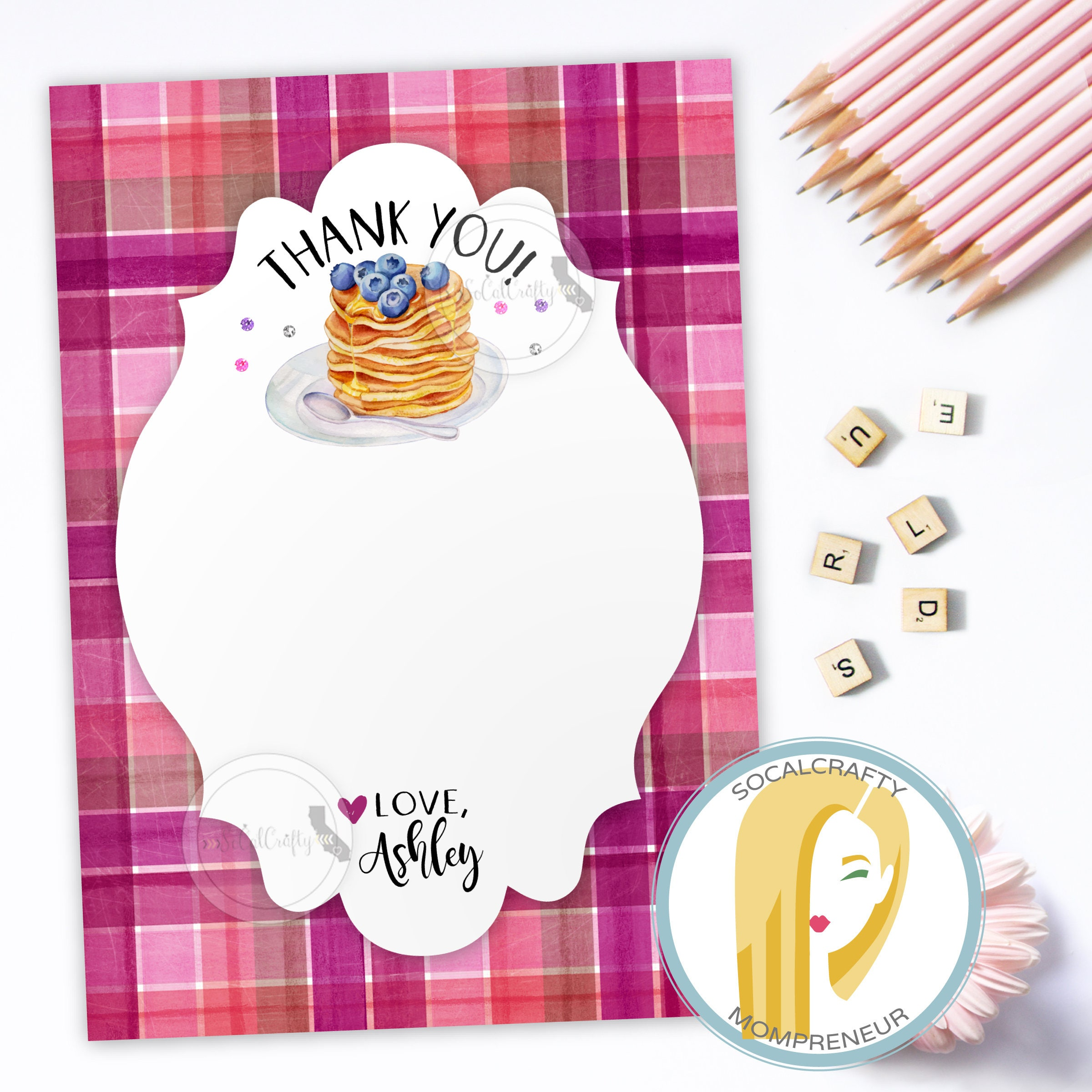 Flapjacks and Flannel Thank You Card Pancake Thank You Card
