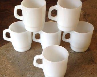 Vintage Fire King White Stacking Glass Coffee Mug Set of 6