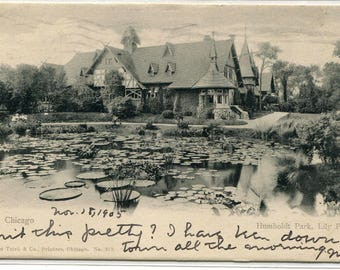 Lily Pond Humboldt Park Chicago Illinois 1905 postcard