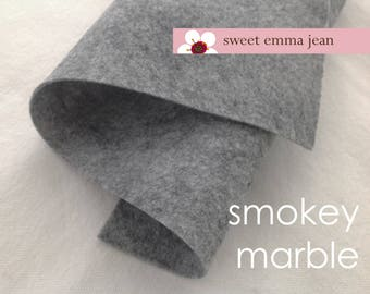 "Wool Felt 33""x36"" cut - Smokey Marble - heathered light grey wool blend felt"