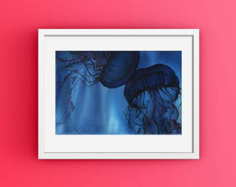 Jellyfish Home Decor, Jellyfish Watercolor, Blue Coastal Print, Modern Ocean Decor, Blue Jellyfish Art, Abstract Coastal Art, Deep Sea Art