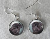 Black Pug Dangle Earrings ~ February Birthday ~ Pug Earrings ~ Gifts for Her ~ Pug Jewelry ~ Painted Pug ~ Black Pug earrings