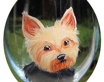 CUSTOM Yorkshire Terrier Wine Glass ~ Girlfriend Gift ~ From YOUR PHOTOS ~ Yorkie Glass ~ Mini Pet Portrait