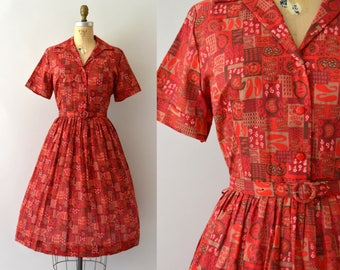 Vintage 1950s Dress - 50s Red Paisley and Floral Shirtwaist Dress - Mode O Day - XL