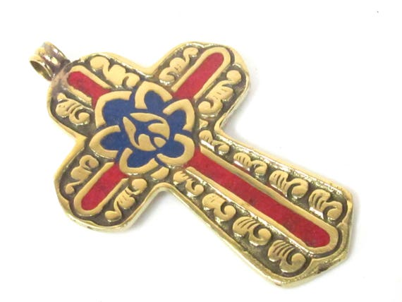 1 Pendant - Reversible Tibetan solid Brass cross pendant with lotus floral carving coral lapis inlay - PM564B