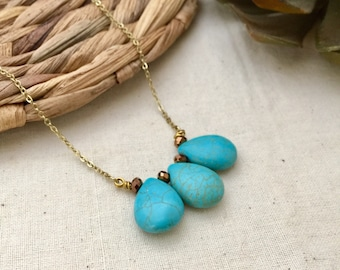 Teardrop Turquoise Stone Necklace, 3 Turquoise Necklace, Boho Necklace, Bridesmaid Necklace, Gift for Here, Handmade Necklace