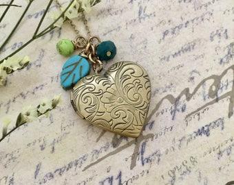 Heart Locket Necklace, Ornate Locket Necklace, Bronze Locket Necklace, Gift Ideas, Handmade Necklace, Bridesmaid Necklace