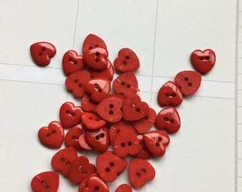 Red Heart Buttons-Valentine Embellishments-Heart Buttons-Planner Accessories-DIY Maker Kits-Card Decorations-Quilting-Valentines Day