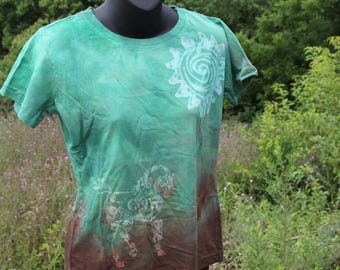 Hand Dyed green and brown  Horse in the sun