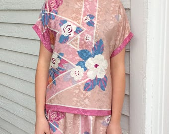 80s Print Top and Skirt Two Piece Set Pink Separates L XL