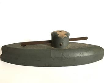 Awesome Antique Wooden Toy Boat - dated 1916