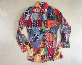Vintage Patchwork Batik Cotton Blouse/Shirt