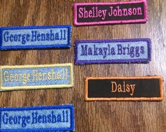 Set of Three Embroidered Name Tags