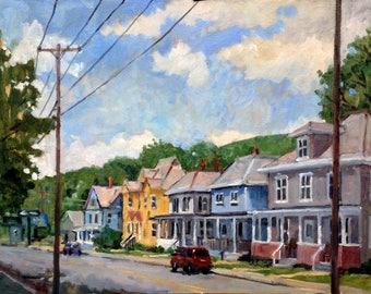 North Adams, Sunny Houses near Mass Moca. 14x18 Oil on Panel, Realist Landscape Painting, Signed Original American Impressionist Fine Art