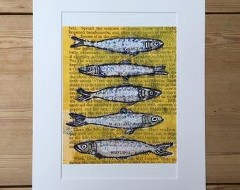 Sardines Monoprint Monotype Cookery Original Art Illustration Giclee Print