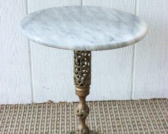 Vintage Marble Top Table Hollywood Regency End Table