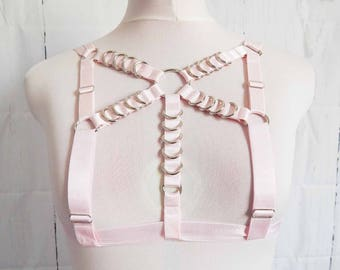 Pink Elastic D Ring Harness, Pink D Ring Harness, Pink Elastic Body Harness, Pink O Ring Harness, BDSM Harness, Burlesque Harness