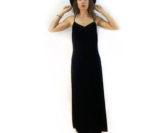 Vintage 90s black velvet maxi dress by Express // size 7/8