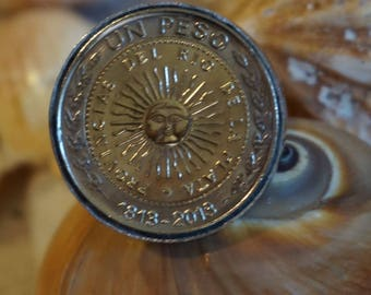 Coin Ring / Argentina Peso / Sun Burst / Ajustble Stainless Steel