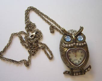 vintage pendant watch brooch - OWL brooch with rhinestones on chain, convertible brooch pendant
