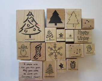 17 rubber stamps - Stampin Up holiday stamp - Christmas trees, stocking, snowman, snowflake, winter