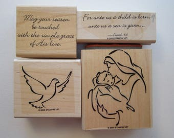 4 rubber stamps - MADONNA AND CHILD - Stampin Up 2005 - used rubber stamps